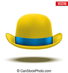 Yellow bowler hat on a white background. vector
