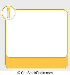 yellow box for your text and test tube