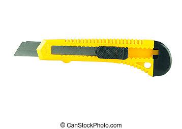 Yellow box knife isolated on white background