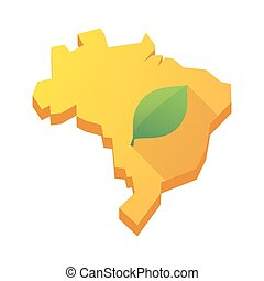 Yellow Brazil map with a leaf