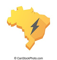 Yellow Brazil map with a lightning