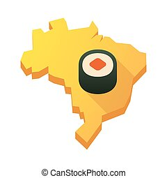 Yellow Brazil map with a sushi