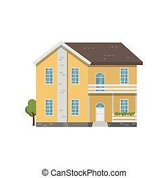 Yellow brick two-story house with balcony above entrance ...