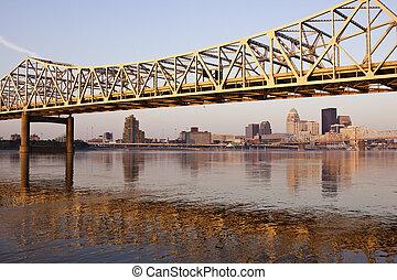Yellow bridge in Louisville on Ohio River in Louisville, ...
