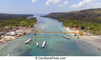 Yellow Bridge Indonesia Connecting the Nusa Isles - Aerial...