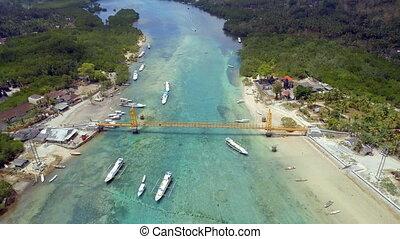 Yellow Bridge Indonesia Connecting the Nusa Isles - Aerial...