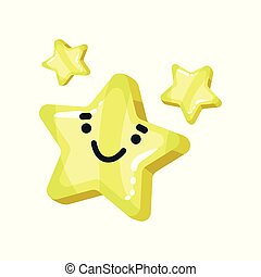 Yellow bright glossy smiling star mascot cartoon vector Illustration on a white background