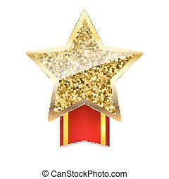 Golden star with gold sparkles and glitter on red ribbon