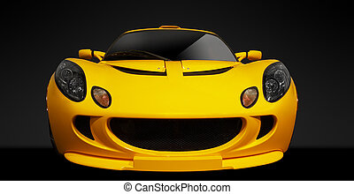 Yellow british sports car on a black background .