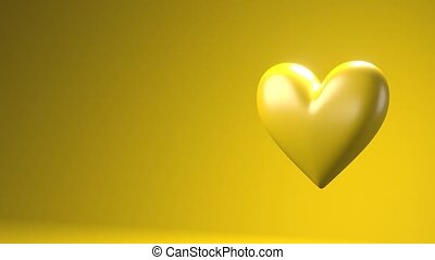 Yellow broken heart objects in yellow text space. Heart shape object shattered into pieces.