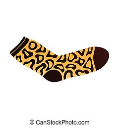 Yellow brown color sock with ornamental african signs