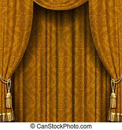 Yellow-brown curtain - Vector image of yellow-brown curtain ...