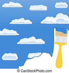 Yellow brush drawing a sky with clouds