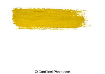 Yellow brush stroke isolated on background