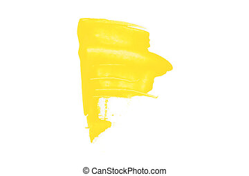 Yellow brush stroke isolated on white background