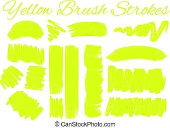 Yellow brush strokes on white background