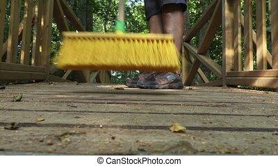 Yellow brush wipe close-up