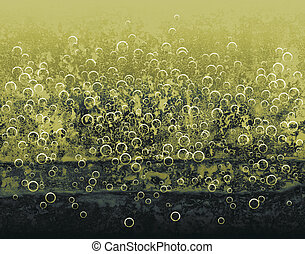 Yellow bubbles - Abstract pattern of bubbles rising in...