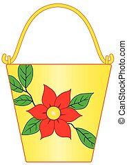 Yellow bucket with flower pattern