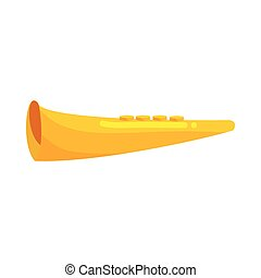 Yellow bugle horn trumpet icon, cartoon style