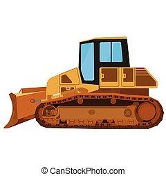 Yellow building bulldozer