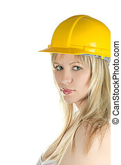 yellow building helmet - pretty woman in yellow building...
