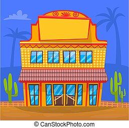 Yellow Building in Town, Facade Exterior Design - Building ...