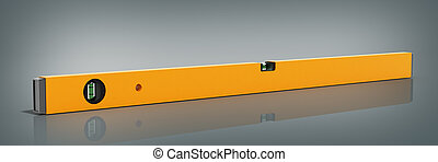 Yellow building level isolated on a glass grey background