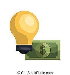 yellow bulb and money bill