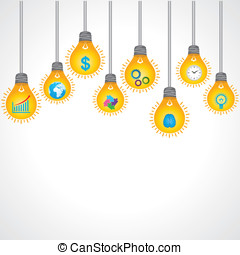 bulb background with business icons