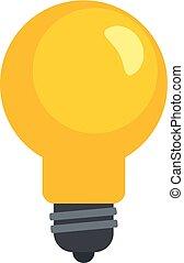 Yellow bulb icon, flat style