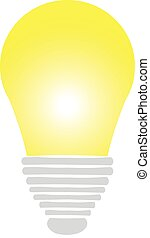Yellow bulb on white background