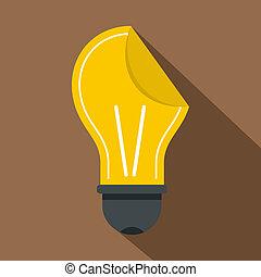Yellow bulb sticker icon, flat style