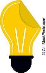 Yellow bulb sticker icon isolated