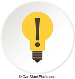 Yellow bulb with exclamation mark inside icon