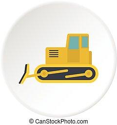 Yellow bulldozer icon circle
