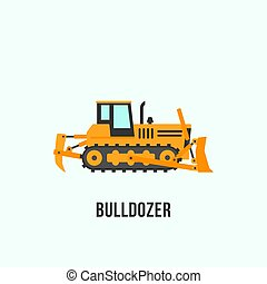 Yellow bulldozer icon in flat style. Construction equipment illustration