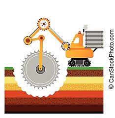 Yellow bulldozer is digging the earth. Mining industry. Layers of the earth