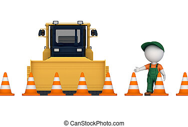 Yellow bulldozer near traffic cones and 3d small person.