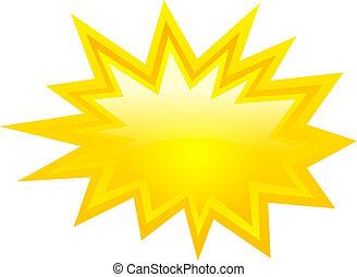 Yellow bursting icon, vector clip art