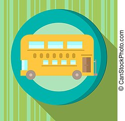 Yellow bus on green striped background