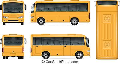 Yellow bus vector mockup