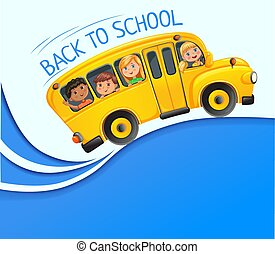 Yellow bus with kids on blue banner.