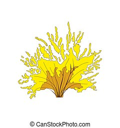 Yellow bushes in cartoon style for decoration on your design. Plants symbol for app game. Vector