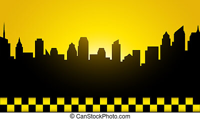 business card with evening city - yellow business card with...