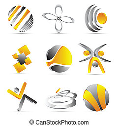 yellow business icons design