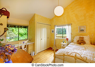 Yellow butter kids baby bedroom with bear.