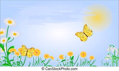 Animation of illustration seamless loop yellow butterflies on spring meadow