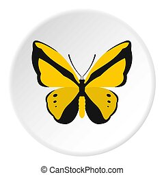 Yellow butterfly icon, flat style