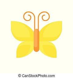 Yellow butterfly icon isolated on white background vector illustration